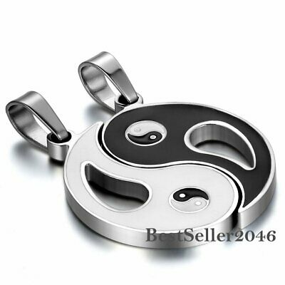 1pair Charm Lucky Taiji Yin Yang Ba Gua Stainless Steel Pendant Couple Necklace