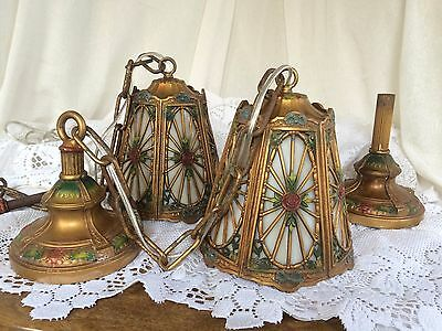 Arts & Crafts Ceiling Lights Chandeliers Pair Slag Glass 1920's Polychrome