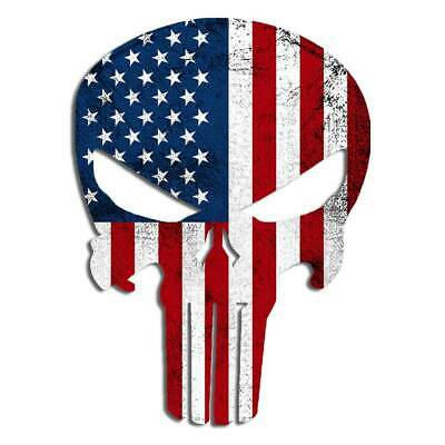 Punisher American Flag Vinyl Decal Skull Sticker Sniper Patriot Veteran Law 2pk