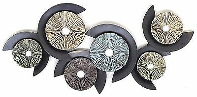 Abstract Metal Wall Art Hanging Sculpture Round Discs Shabby Home Garden 100 cm