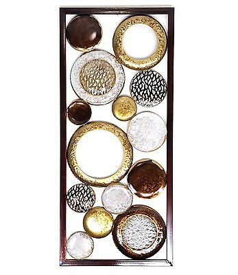 Abstract Metal Wall Art Hanging Sculpture Rings Circles Copper Home Garden 81 cm