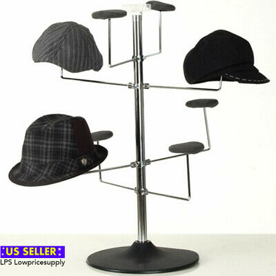 New Retail Counter Hat Display Rack (Chrome Finish w/Black Plastic Base)