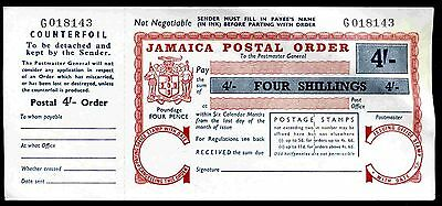 Jamaica, Four Shillings Postal Order, Four Pence Poundage, with counterfoil.