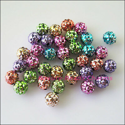 50 New Charms Mixed Acrylic Plastic Round Pineapple Spacer Beads 8mm