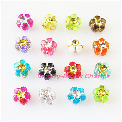100 New Charms Mixed Acrylic Plastic Tiny Star Flower Spacer Beads 7mm