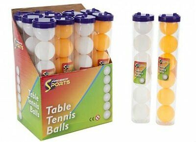 Table Tennis Ping Pong Orange/White Balls In PVC Tube With Lid