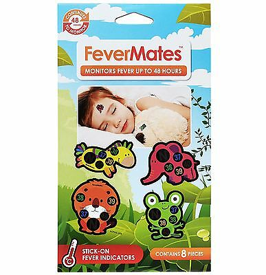 Fevermates 8 Pack of Stick On Thermometer Fever Indicator Kids Fever Mates