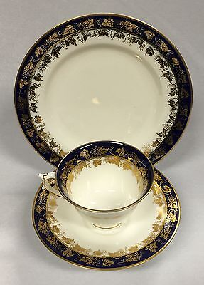 Antique Royal Worcester Blue and Gilt Tea Cup Saucer and Cake Plate c1919