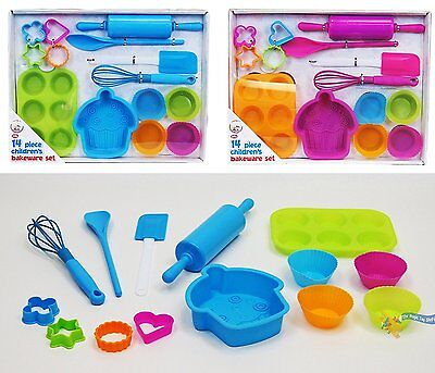Bakeware Baking Set Cupcake Cake Cutters 14Piece Childrens Silicone Cookie Mould