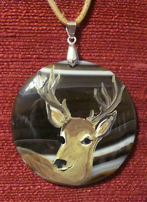 Buck deer hand painted on round gemstone pendant/bead/necklace