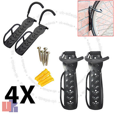 4X Steel Bicycle Storage Wall Mounted Hook & Rack Holder Hanger Stand Black UKED
