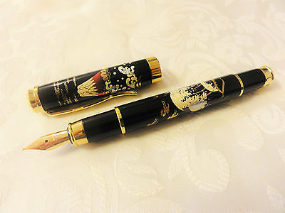 Handmade Japanese Urushi Lacquer Makie fountain Pen Mt.Fuji and Wave