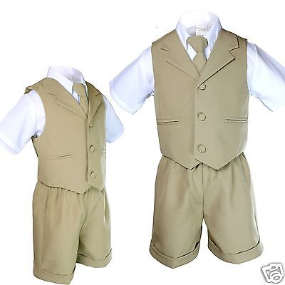 3e7dcc4df Boy Infant & Toddler Formal Eton Easter Khaki Vest Shorts Suit S M L XL 2T  3T 4T