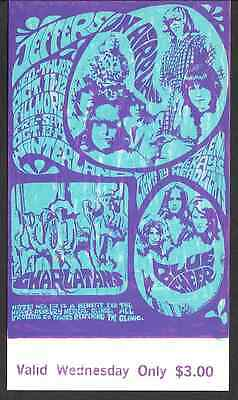 Jefferson Airplane Charlatans Blue Cheer  BG Fillmore Concert Ticket 1967