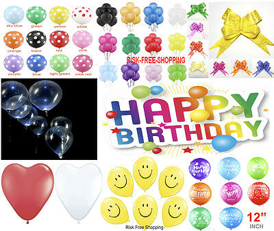 """12"""" LARGE Helium High Quality HAPPY Birthday Party Balloons SMILEY FACE baloons"""
