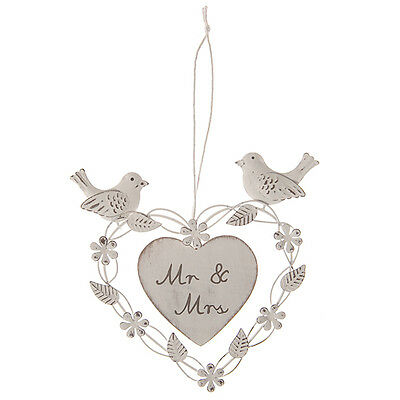Sass & Belle White Wedding Mr & Mrs Heart & Doves Hanging Decoration 15x15cm