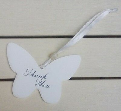 """NEW Shabby Chic wooden """"Thank You"""" Butterfly Hanging sign 12x9cm NO P&P"""