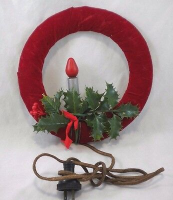 Vintage Electric Christmas Candle Velveteen Wreath Cloth Covered Cord