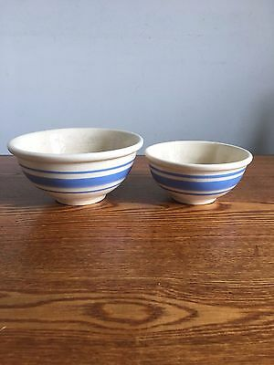 Vintage Weller Salesman Sample Mixing Bowl Blue Stripe Yellow Ware Pottery RARE!