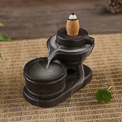 Lucky Ceramic Smoke Cone Backflow Designed Censer Incense Burners Holder