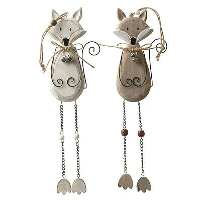Wooden Cream Hanging Fox Christmas Decoration Wire Bells Chain 31cm Shabby Chic