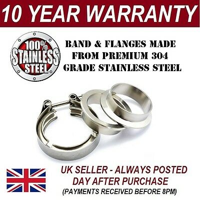 """V-BAND CLAMP + FLANGES COMPLETE STAINLESS STEEL EXHAUST TURBO HOSE 3"""" INCH 76mm"""
