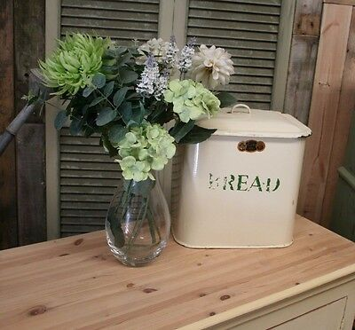 Beautiful Shabby Chic Large Enamel Good Fellows Vintage Bread Bin Kitchen