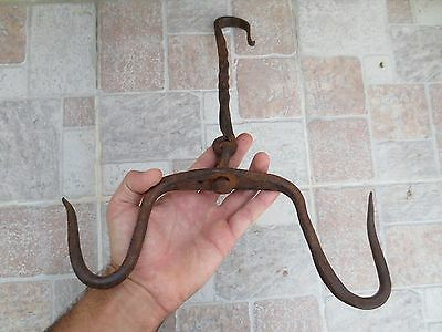 ANTIQUE 19th C. Hand forged Wrough Iron LARGE Hook Hanger Old Fireplace Vintage