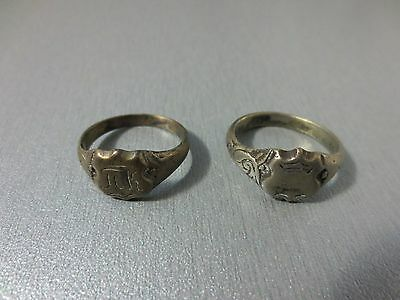 LOT 2pcs ANTIQUE 19th CENTURY OTTOMAN EMPIRE WEDDING SILVER ALLOY FOLKLORE RINGS