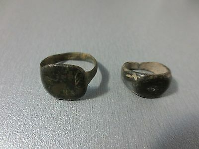 LOT 2 ORIGINAL BRONZE RING Metal Detector Find Ancient ROMAN / MEDIEVAL ARTIFACT