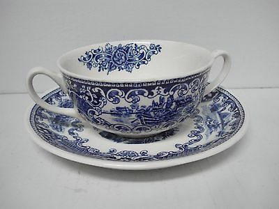 Maastricht Cambridge Old England Royal Sphinx Blue Soup Bowl with Underplate