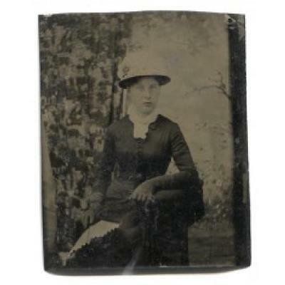 Woman in Mourning Dress w/ Gloves, Fan & Feathered Hat Tintype Photograph Antiqu