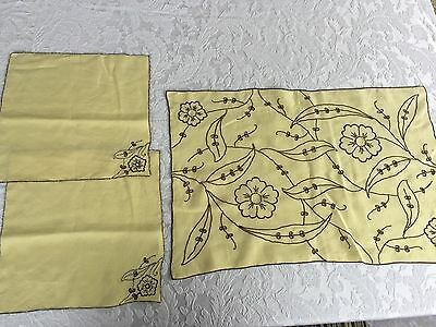 Vintage embroidered dresser scarf and matching standclothes