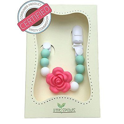 2 in 1 Pacifier Clip - Teething Baby Silicone Beads with Unique Shapes - Girl's