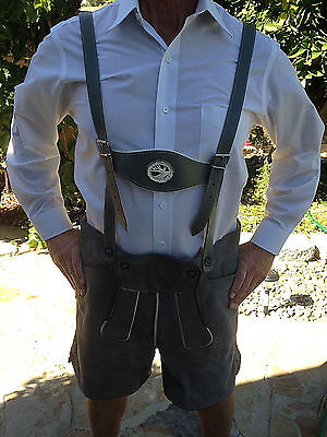New Genuine German Bavarian Leather Lederhosen Shorts Size 42 Oktoberfest
