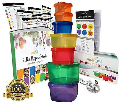 7 Piece Portion Control Containers Kit (GUIDE + FREE 21 DAY PDF PLANNER + REC...