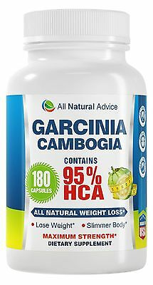 All Natural Advice Garcinia Cambogia Extract with Pure 95% HCA 180 Capsules w...
