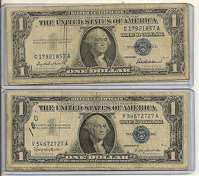 Lot Of 2 1935 or 1957 $1 Blue Seal Silver Certificate big issues, 1 protector