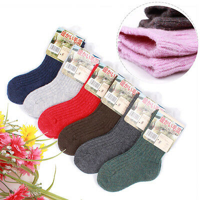 6 Pairs Child Boys Girls Kids Cashmere Wool Thicken Warm Multi-Color Socks 2-12Y