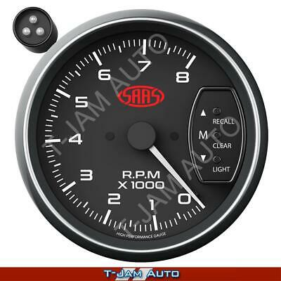 SAAS Tacho Black Face 3.75 Inch 95mm 8,000 rpm Gauge Shift Light NEW