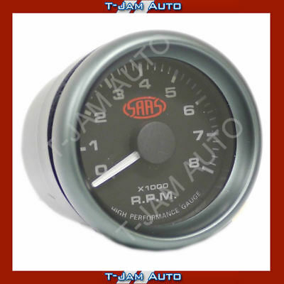 SAAS Tacho Black Face 52mm 8,000 rpm Gauge NEW