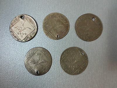 LOT of 5pcs SILVER COINS 7 KREUZER 1802 Francis Austria Hungary Medieval Europe