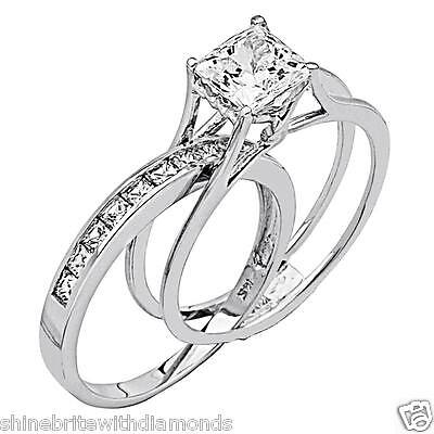2 Ct Princess Cut 2 Piece Engagement Wedding Ring Band Set Solid 14K White Gold
