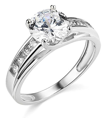 3 Ct Round Brilliant Cut Engagement Wedding Ring Trellis Real 14K White Gold