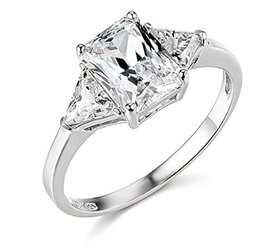 2.75 Ct Emerald Trillion Cut Engagement Ring 3 Three Stone Solid 14K White Gold