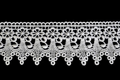 """Kiddo 3"""" White or Ivory Floral Scalloped Guipure Venice Lace Trim by Yardage"""