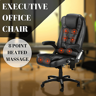 Executive Office Chair 8 Point Massage Heated Computer PU Leather Recliner BLACK