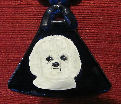 Bichon Frise hand painted on a hand crafted Fused Glass pendant/bead/necklace