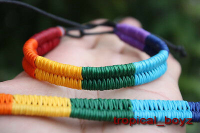 10 Very Beautiful Rainbow Waxed Nylon Surfer Handmade Bracelets Wholesale