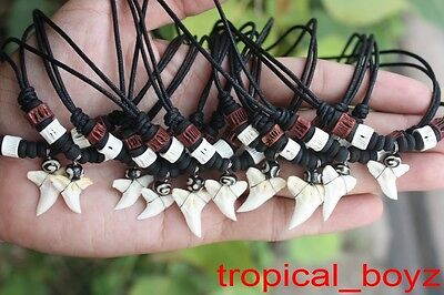 10 Curved Shark Tooth Necklaces Sharks Teeth BROWN Cartilage Beads Wholesale *